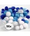 96x knutsel pompons 15 20 mm wit blauw