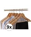 9x houten kledinghangers