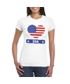 Amerika usa hart vlag t shirt wit dames