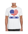 Amerika usa hart vlag t shirt wit heren