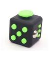 Anti stress kubus zwart lichtgevend groen 4 cm