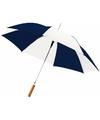 Automatische paraplu blauw wit 82 cm