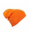 Basic beanie muts lang oranje voor dames