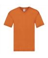 Basic v hals katoenen t shirt oranje voor heren