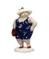 Beeld staande dikke dame donkerblauwe jurk 20 cm