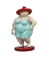 Beeld staande dikke dame lichtblauwe jurk 20 cm