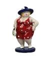 Beeld staande dikke dame rode jurk 20 cm