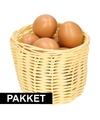 Beige paasmandje met eieren naturel 14 cm