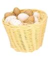 Beige paasmandje met plastic kwartel eieren 14cm