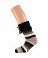 Beige zwarte dames huissokken met gekleurde strepen
