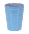Beker melamine ribbel blauw 300 ml
