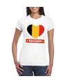 Belgie hart vlag t shirt wit dames