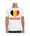 Belgie hart vlag t shirt wit heren