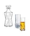 Bijzondere glazen whiskey karaf 0 85l met twee hoge glazen