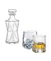 Bijzondere glazen whiskey karaf 0 85l met twee opvallende glazen