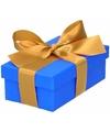 Blauw cadeaudoosje 10 cm met gouden strik