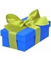 Blauw cadeaudoosje 10 cm met lichtgroene strik