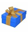 Blauw cadeaudoosje 13 cm met gouden strik