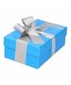 Blauw cadeaudoosje 13 cm met zilveren strik