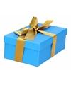 Blauw cadeaudoosje 15 cm met gouden strik