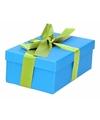 Blauw cadeaudoosje 15 cm met lichtgroene strik