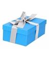 Blauw cadeaudoosje 15 cm met zilveren strik