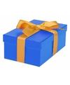 Blauw cadeaudoosje 17 cm met gouden strik