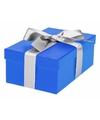 Blauw cadeaudoosje 19 cm met zilveren strik