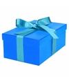 Blauw cadeaudoosje 21 cm met lichtblauwe strik