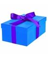 Blauw cadeaudoosje 21 cm met paarse strik