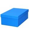 Blauw cadeaudoosje 21 cm rechthoekig