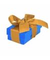 Blauw cadeaudoosje 8 cm met gouden strik