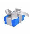 Blauw cadeaudoosje 8 cm met zilveren strik