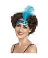 Blauwe charleston hoofdband met veer