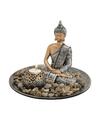 Boeddha beeld zilver op ronde schaal met theelichthouder 25 cm