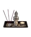 Boeddha beeldje kaarsenset met houten plateau