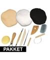 Boetseergereedschap pakket met basis kleuren boetseerklei