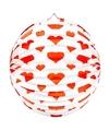 Bol lampion rond met rode hartjes 36 cm