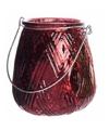 Bordeauxrode theelichthouder lantaarn 10 cm