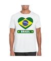 Brazilie hart vlag t shirt wit heren