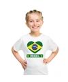 Brazilie hart vlag t shirt wit jongens en meisjes