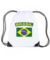 Brazilie nylon rugzak wit met braziliaanse vlag