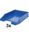 Brievenbakjes blauw a4 formaat 3 stuks