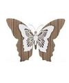 Bruin witte houten vlinder 28 cm