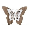 Bruin witte houten vlinder 38 cm