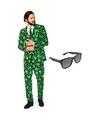 Cannabis print heren kostuum maat 54 xxl met gratis zonnebril