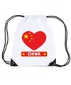 China hart vlag nylon rugzak wit