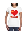 China hart vlag t shirt wit dames