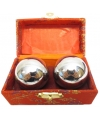 Chinese meridiaankogels 4 5 cm zilver in rood kistje