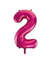 Cijfer 2 folie ballon roze van 92 cm